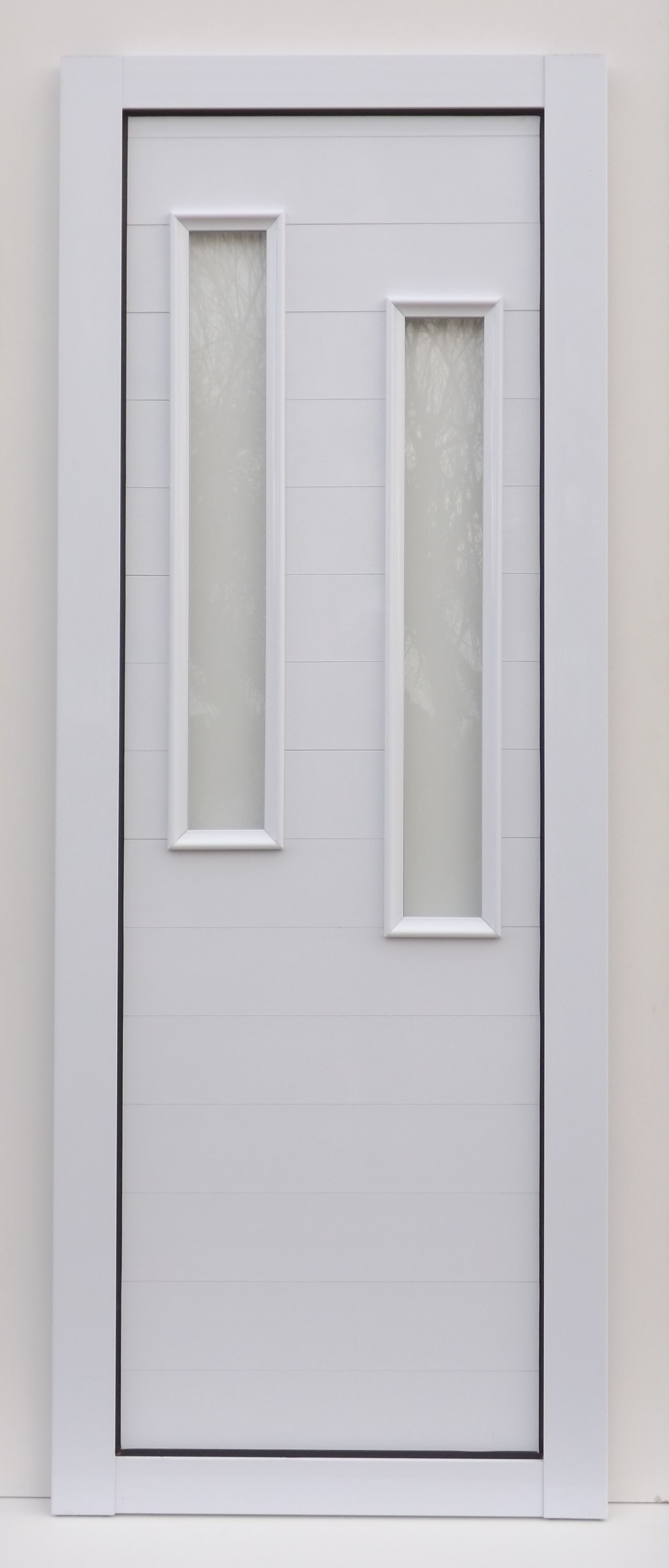 Puerta con vidrios verticales